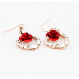 Rózsás, szíves fülbevaló
