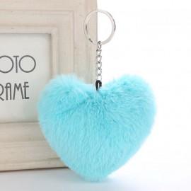 Szív alakú, szőrmók kulcstartó