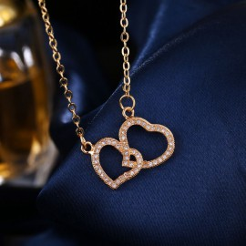Szív alakú, ékköves női nyaklánc